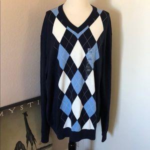 Tommy Hilfiger Men's  Argyle V neck Sweater